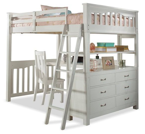 Iris Brushed White Loft Bed With Desk With Images Loft Bed