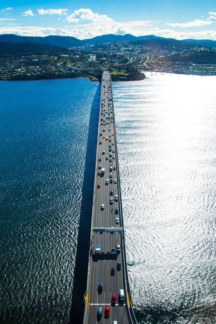 Tasmania, Australia | Gaze upon an aerial view of the incredible Tasman Bridge, one of the most iconic in Australian history.