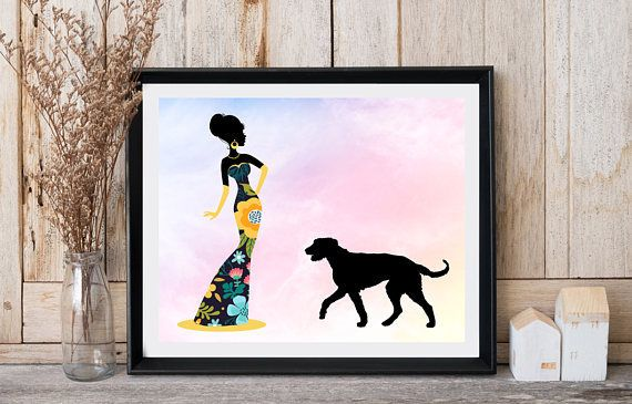 Dog print Lady with dog Wolfhound art Floral dress Romantic