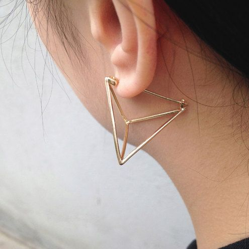 Contemporary Minimalist Triangular Cube Earrings .Pyramid Earrings . Gold & Silver Alloy . Copper-Zinc. Simplicity Unique. Fashion Earrings.