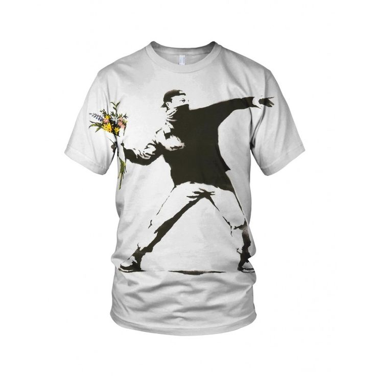 """The Flower Thrower, from the collection of """"Hand Printed"""" Designs by the prolific street artist known as """"Banksy"""".   More Designs and Styles on the Store: http://www.globalmusicollective.com/store/?product_cat=banksy"""