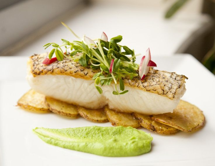 sea bass pea puree