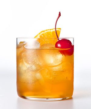 Amaretto Sour - Amaretto, Simple Syrup, Lemon Juice, Orange Slice, Maraschino Cherry.