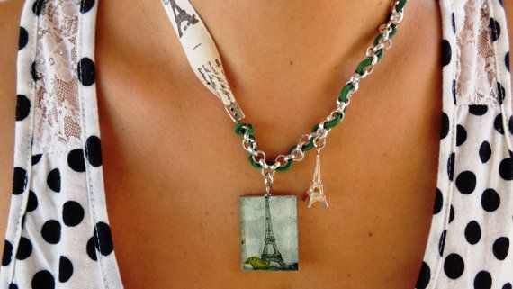 Eiffel Tower necklace decoupage pendant silver by ArtisticBreaths