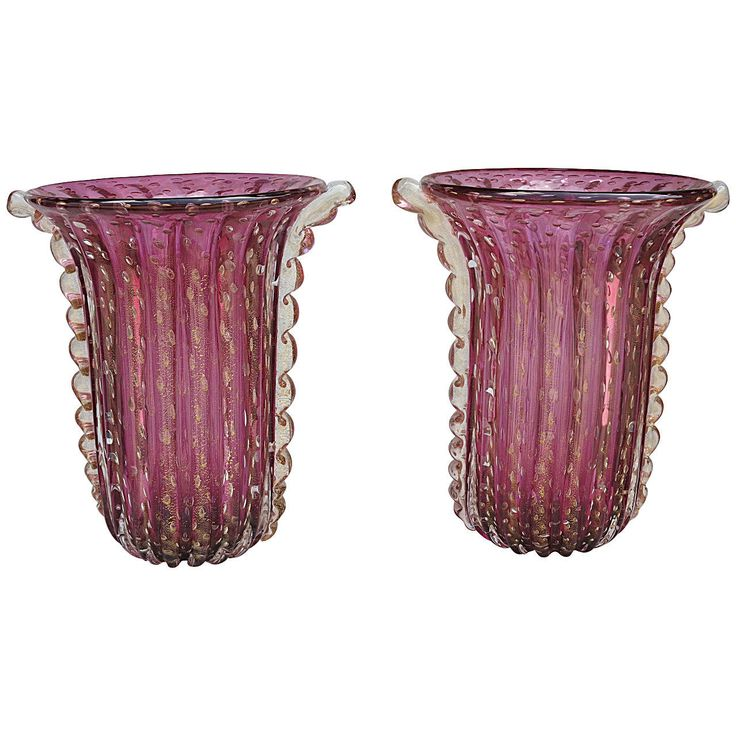 1970' Cristal Murano Pair or Similar Vases Purple and gold sign Toso | From a unique collection of antique and modern vases and vessels at https://www.1stdibs.com/furniture/decorative-objects/vases-vessels/