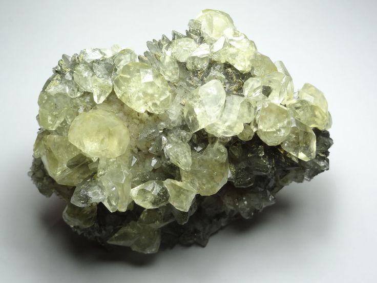 Peruvian, Diamond Shaped, Calcite Crystals, with Golden Chalcopyrite, and Quartz