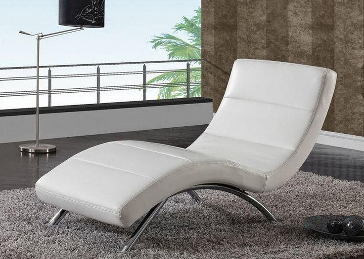 Elegant Contemporary Chaise Lounge Chair For Living Room With White Leather Design : Furnish Your Splendid Living Room with Modern Furniture : Recommended Lounge Chairs For Living Room