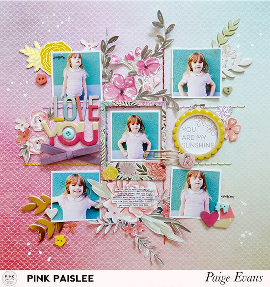 Debuting her brand new collection, Take Me Away, Paige Evans is creating a GORGEOUS layout full of color, fun and lots of embellishments.