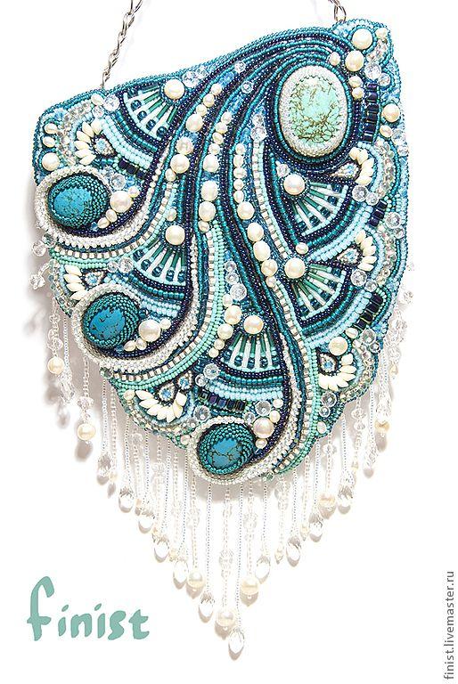 """Купить Сумочка """"Бегущая по волнам"""" - морская волна, орнамент, бисерная сумочка, Вышивка бисером"""