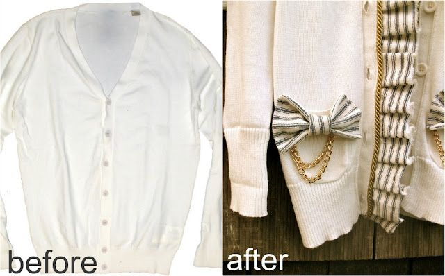 Ruffle up an old cardigan: Sweaters, Fashion Ideas, Turning Vacay, Diy Fashion, Trash To Couture, Diy Clothing, Old Clothing, Diy Projects, Cardigans Turning