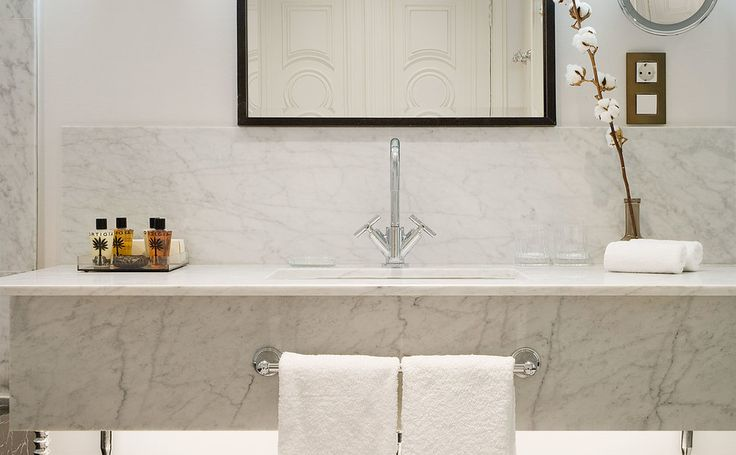 Cotton House Hotel, Autograph Collection Barcelona, Spain bathroom sink tile plumbing fixture countertop flooring bathtub home bathroom cabinet toilet
