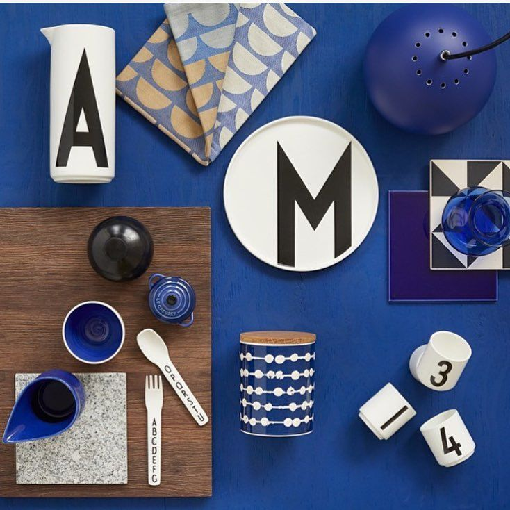 Black, white and blue mixed Scandinavian Interior. Typography: AJ Vintage ABC.