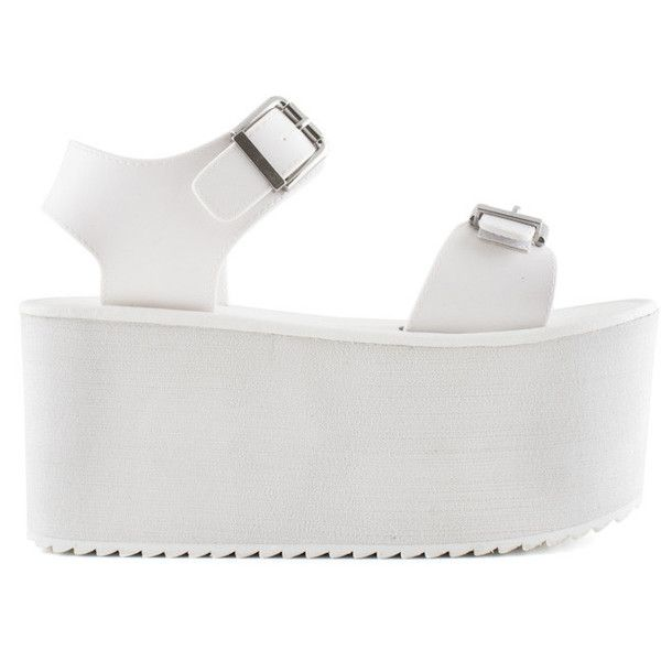 VFILES ORION PLATFORM SANDAL ❤ liked on Polyvore featuring shoes, sandals, clothes - shoes, white sandals, fleece-lined shoes, platform shoes, white platform shoes and white platform sandals