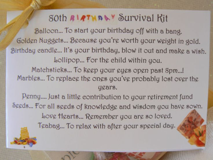 60th, 70th, 80th Birthday Survival Kit, gift & card.Novelty present, keepsake :)