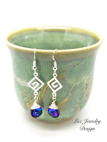 Cobalt purple crystals earrings - purple blue Swarovski earrings