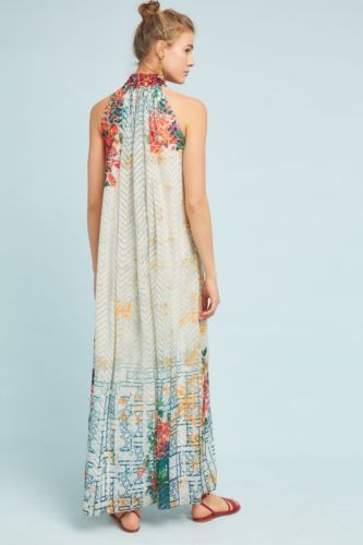 848fbe94b2fe NWT-Anthropologie-Bhanuni-Embroidered-Bead-Halter-Style-Ivory-Floral-Maxi- Dress