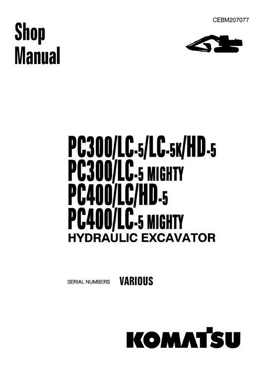 Komatsu PC300-5, PC300LC-5, PC300HD-5 Excavator Service