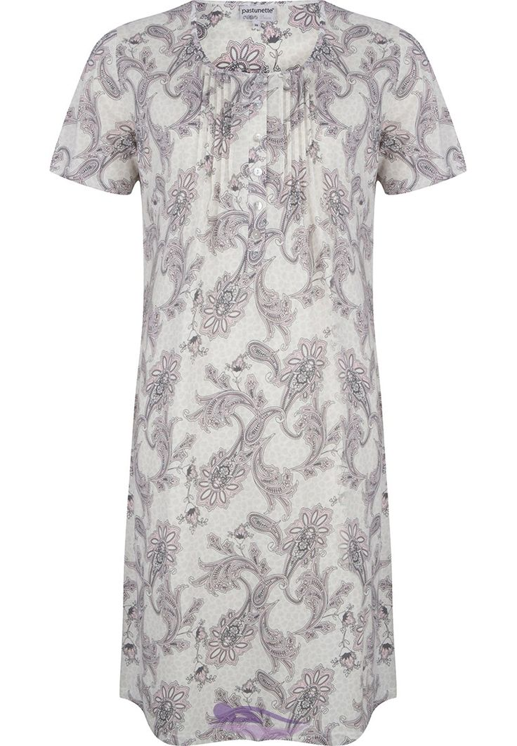 Pastunette Deluxe 'paisley floral' print light grey cotton-modal nightdress with front pleats and buttons
