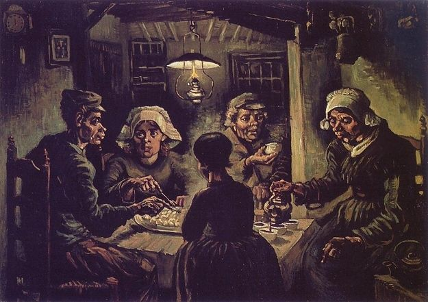 Vincent Van Gogh, The Potato Eaters, 1885  Van Goghs first major work, The Potato Eaters, was painted in dark earth tones, a stark contrast from the hues in his later landscapes. Its aim was to capture the grim realities of peasant life.