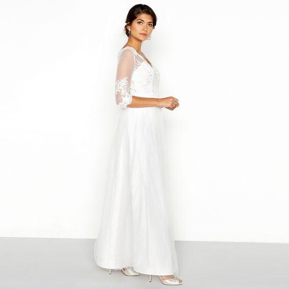 b1b5a1b6a8 Chi Chi London White lace mesh 'Sophia' V-neck full length wedding dress |  Debenhams