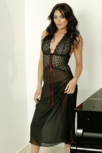 CHIFFON AND LACE HALTER LONG NIGHTIE