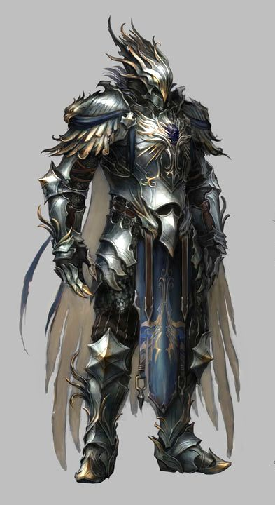 Very distintive armour, arthur needs to have a lot going on with his whole body, syarmour patterned cloak. a man who looks like he may also be part of a religious order