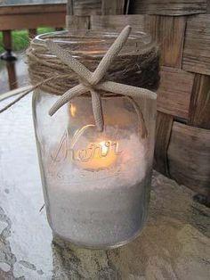 #DIY Mason Jar Decor - perfect for a Beach Bridal Shower! More Beach Bridal Shower inspiration on 3d-memoirs.com!