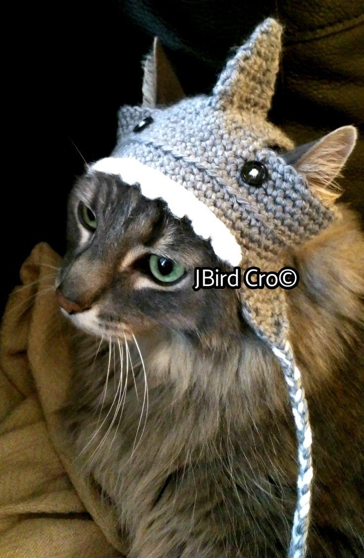 Shark cat hat (crochet)