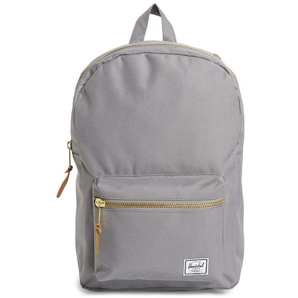 Women's Herschel Supply Co. 'Settlement Mid Volume' Backpack (245 RON) ❤ liked on Polyvore featuring bags, backpacks, accessories, grey, vertical-zip laptop backpack, grey backpack, backpack bags, backpack laptop bag and laptop bags