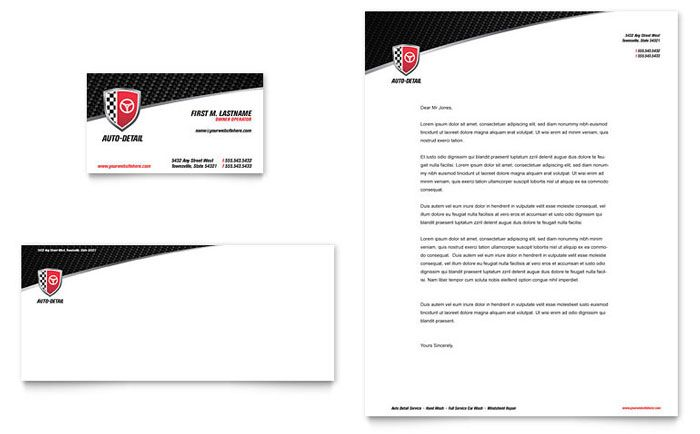 auto detailing business card and letterhead design