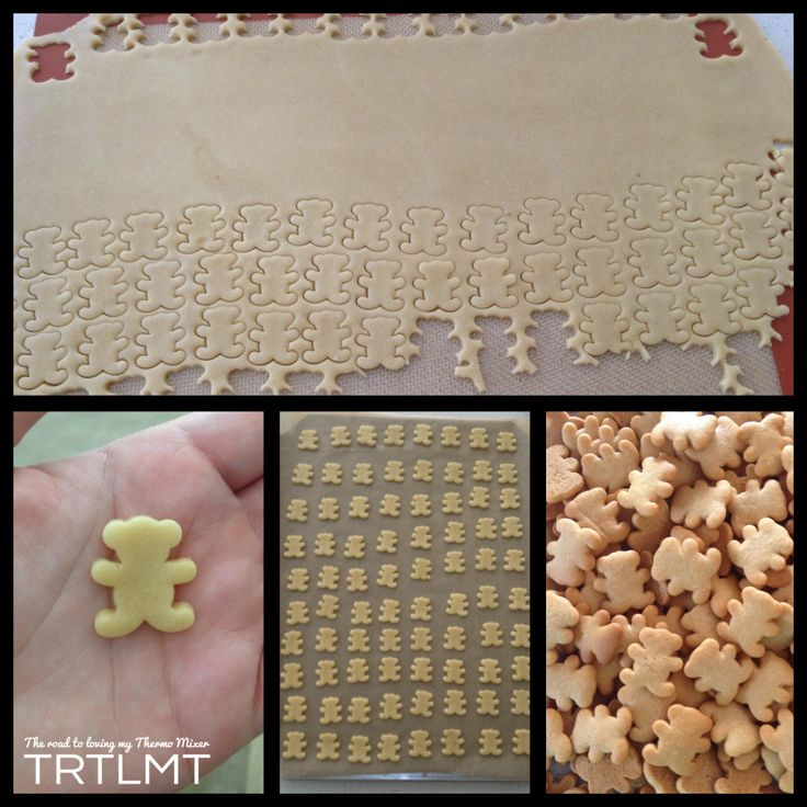Recipe similar to tiny teddies. Very simple to mix but could be tedious cutting out all those tiny biscuits.