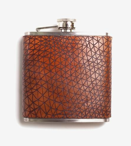 Geometry Leather Wrapped Flask