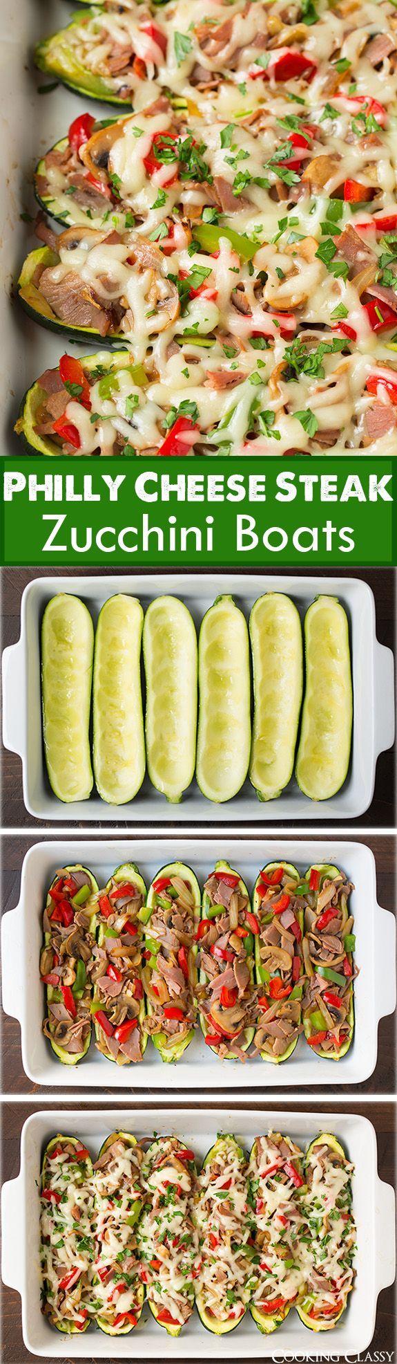 Philly Cheese Steak Zucchini Boats