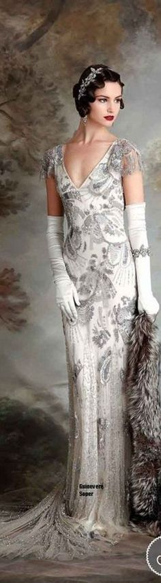 Yule style!! Noel Christmas! New Year's Eve! Winter Wedding!! Gatsby Glam! White and silver! A touch of Art Deco dress! A silver and white gown with long white gloves - and a perfect bracelet! PLUS look at the headband! A perfect touch for lovely wavy hair!