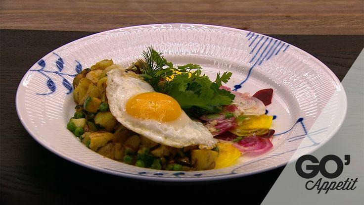 Letbenet biksemad med kartofler, ærter og friske krydderurter