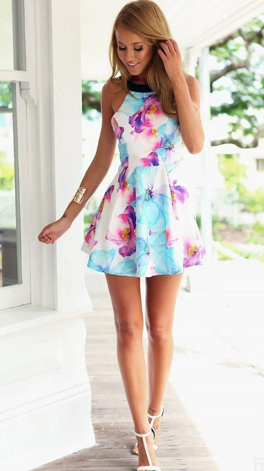 Look for effortless romance? check this sweet watercolor floral print skater dress. It features black Halter neck and backless design. Perfect for a date night out or a work day. Free Shipping and Tax! Find more at SUNAAI.com