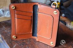 "Medium Trucker Wallet ""Concealed"" Custom Version, Two colored, Hand Stitched, Full-Grain Vegetable Tanned Shoulder Leather, Biker Wallet"