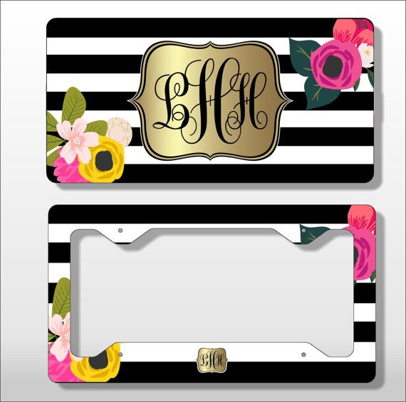 monogram license plate with matching key chain personalized license licence tag custom frame