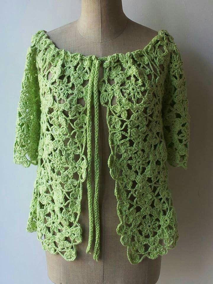 Blusa in cotone e lurex lavorata a piastrelle crochet