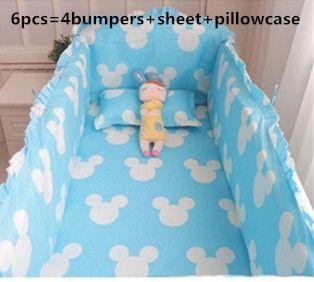 47.80$  Watch now - http://aligeq.worldwells.pw/go.php?t=32307382987 - Promotion! 6PCS Mickey jogo de cama bebe baby crib bedding set (bumper+sheet+pillow cover)