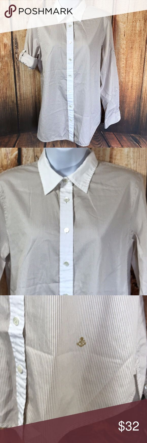 "J.Crew Adjustable Sleeve Button Front Shirt Washed Shirts by J.Crew  Adjustable sleeve length with button tabs, striped body with solid collar and placket, 100% pure cotton  Size 4  Measures 18"" across bust  Measures 28"" long, from center back  Sleeves measure 23"" from shoulder seam, fully extended  Gently worn, good condition J. Crew Tops Button Down Shirts"