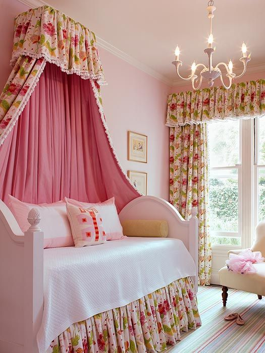 Cute little girl room (the fabric makes it a little fru-fru for my taste but like the overall feel) #canopy #chandelier #girlsroom