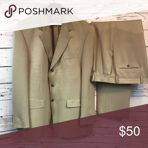 Men's Tan Suit by Chaps 48R Pants 38x32 Smart looking suit! It is freshly dry cleaned and ready for a new home! There are no size tags inside of the suit but my fiancé says the jacket is 48R. We had the pants taken out and they are about a 38x32 now. It's a handsome addition to any man's wardrobe! Chaps Suits & Blazers Suits