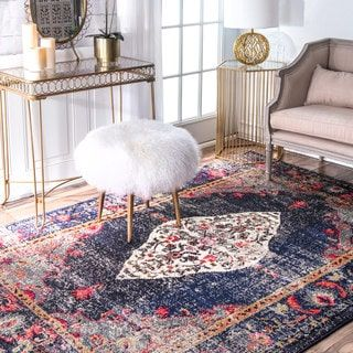 nuLOOM Traditional Distressed Medallion Navy Rug (7'10 x 11') | Overstock.com Shopping - The Best Deals on 7x9 - 10x14 Rugs