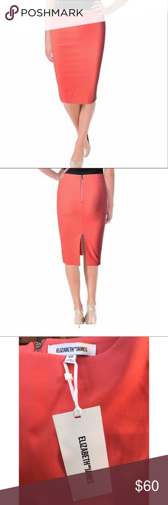 ELIZABETH & JAMES CORAL PENCIL SKIRT BNWT Brand new with tags, size 00.  This is the perfect pencil skirt in a beautiful color. Never worn. Elizabeth and James Skirts Pencil