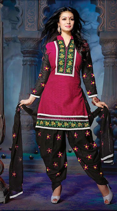 ayesha takia in black and dark pink punjabi suit ys101147