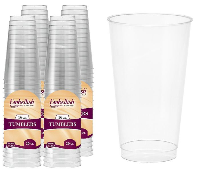 Clear Plastic Party Tumblers Set Disposable Washable Hard Durable 16oz 80 Count #ClearPlasticTumblers