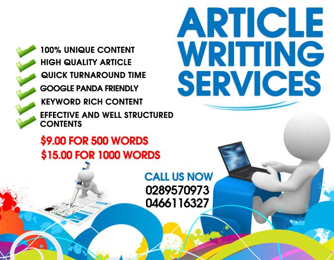 High quality articles are produced by a special breed of writers—native speakers who perform a thorough research for each assignment given to them. This is one of the principles that we uphold and serves as the foundation for the kind of service that we offer our clients. Our writers are some of the best in the industry. Our article writing services are very affordable, at $9.00 for a 500-word content and $15.00 for a document consisting of 1,000 words.