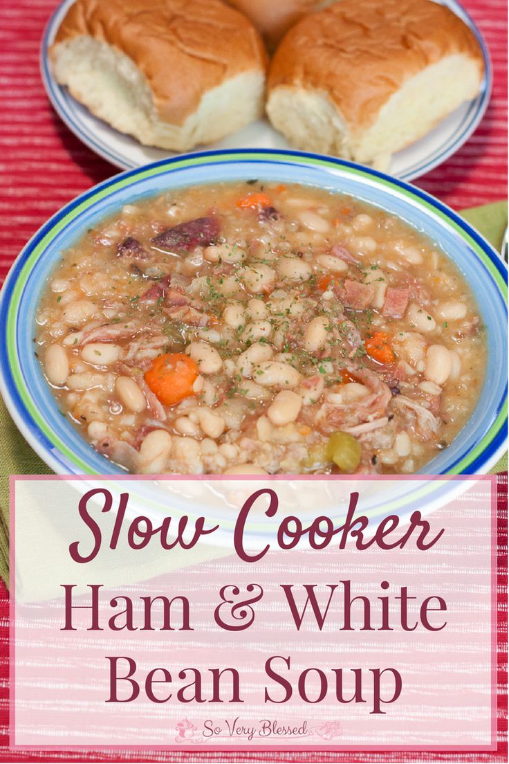 Slow Cooker Ham & White Bean Soup Recipe : So Very Blessed – This warm, hearty crockpot soup is the perfect way to use that leftover ham bone for a bowl of comfort food on chilly evenings!