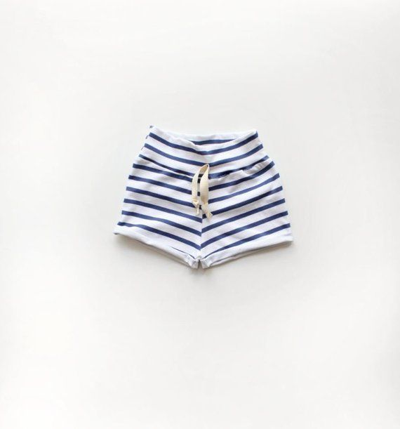 Navy Blue Stripe Rolled Cuff Shorts / Kids Shorts / Baby Shorts / Nautical Clothes / Beach Shorts /